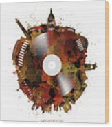 Washington Dc Skyline Vinyl 7 Wood Print