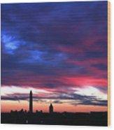 Washington Monument Dramatic Sunset Wood Print