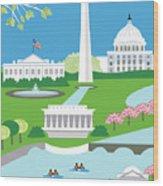 Washington, D.c. Vertical Skyline Wood Print