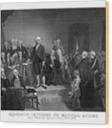 Washington Delivering His Inaugural Address Wood Print