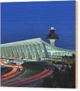 Washington Dulles International Airport At Dusk Wood Print