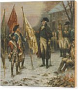 Washington Inspecting The Captured Colors After Battle Of Trenton Wood Print