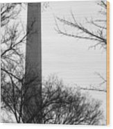 Washington Monument Bw Wood Print
