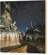 Washington Monument Fountain Wood Print