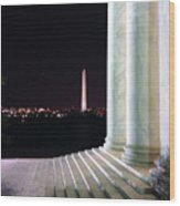 Washington Monument From Stairs Of Jefferson Wood Print