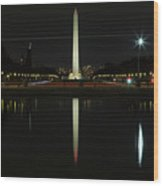 Washington Monument In Reflection Wood Print