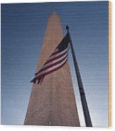 Washington Monument Single Flag Wood Print