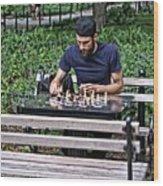 Washington Square Park Chess Man Wood Print