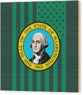 Washington State Flag Graphic Usa Styling Wood Print