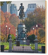 Washington Statue In Autumn Wood Print