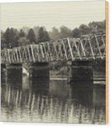 Washington's Crossing Bridge On A Rainy Day Wood Print