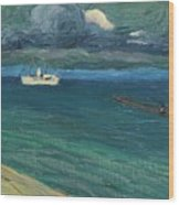 Wassily Kandinsky 1866 - 1944 Rapallo, Seascape With Steamer Wood Print