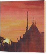 Wat Silhouette Wood Print