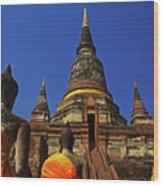 Wat Yai Chai Mongkol In Ayutthaya, Thailand Wood Print
