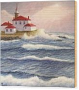 Watch Hill Lighthouse In Breaking Sun Wood Print