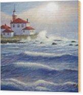 Watch Hill Lighthouseri In Breaking Sun Wood Print