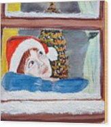 Watching For Santa Wood Print