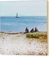 Watching The Boats Pass By Wood Print