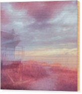 Watching The Day Begin In Watercolors Wood Print