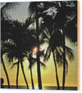 Watching The Hawaiian Sunset  Wood Print
