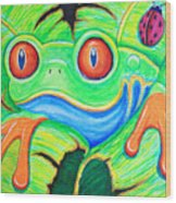 Watching You Red Eyed Tree Frog Wood Print by Nick Gustafson