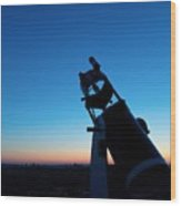 Watchnig The Sky, Astronomy Telescope Against Evening Sky And Moon Wood Print