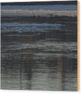 Water And The Ice - Icy River Danube Wood Print