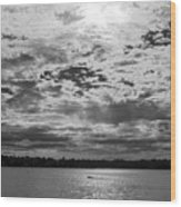 Water And Sky - Bw Wood Print