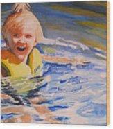 Water Baby Wood Print by Karen Stark