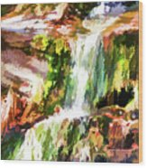 Water Cascading Wood Print
