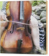 Water Cello  Wood Print