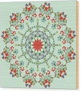 Water Color Garden Kaleidoscope Wood Print
