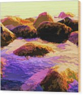 Water Color Like Rocks In Ocean At Sunset Wood Print