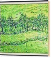 Water Color Of Apple Orchard Farm Wood Print