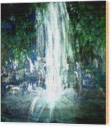 Water Falling Wood Print