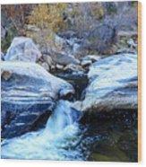 Water Flowing Through Rock Formation In Sabino Canyon II Wood Print