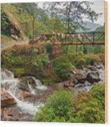 Water Flowing Through Rocks Kukhola Falls Sikkim Wood Print