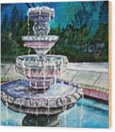 Water Fountain Acrylic Painting Art Print Wood Print