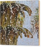 Water Fountain Yellow Charleston Sc Wood Print by Lori Kesten