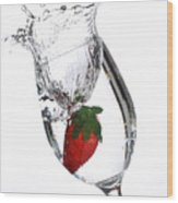 Water Glass Strawberry Wood Print