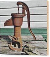 Water Hand Pump Wood Print