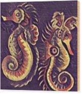 Water Horses 1 Wood Print