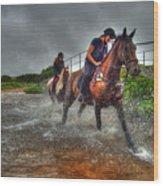 Water Horses Wood Print
