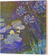 Water Lilies And Agapanthus 1917 Wood Print