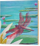 Water Lilies And Dragonfly Wood Print