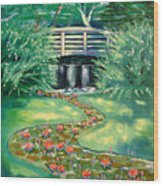 Water Lilies Bridge Wood Print