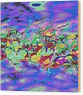water lilies In twilight Wood Print