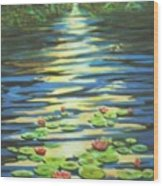 Water Lillies At Dusk Wood Print