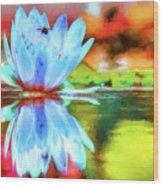 Water Lily And Bee Pastel Wood Print