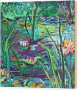 Water Lily Pond Wood Print